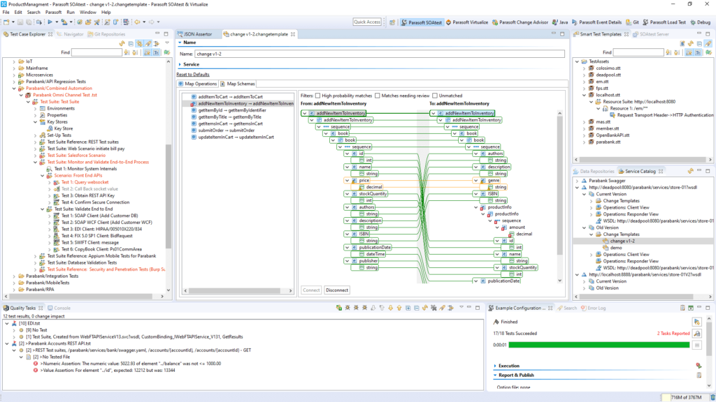 Screenshot of Parasoft SOAtest automation testing tool