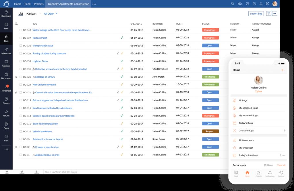 Screenshot Of Zoho Bug Tracker