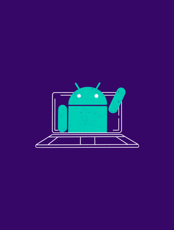 illustration of the android mascot waving from a desktop screen for what is an android emulator
