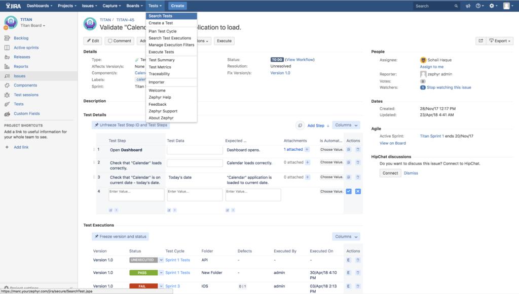 Screenshot Of Zephyr Test Management Tools For Jira